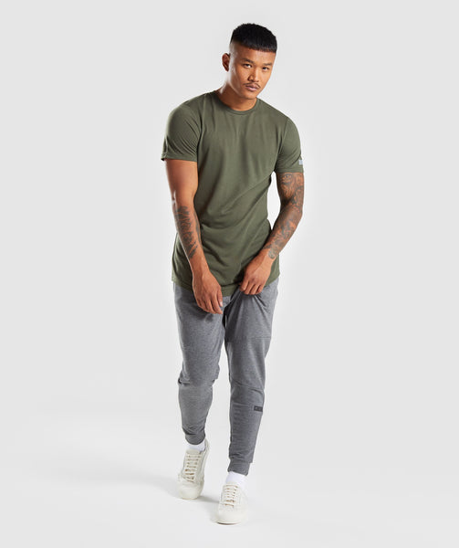 Gymshark Perforated Longline T-Shirt - Woodland Green 3