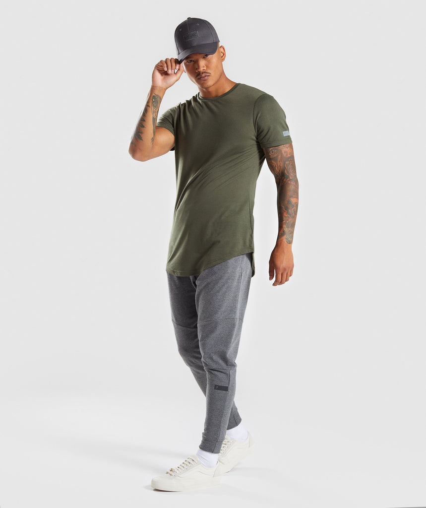 Gymshark Perforated Longline T-Shirt - Woodland Green 6