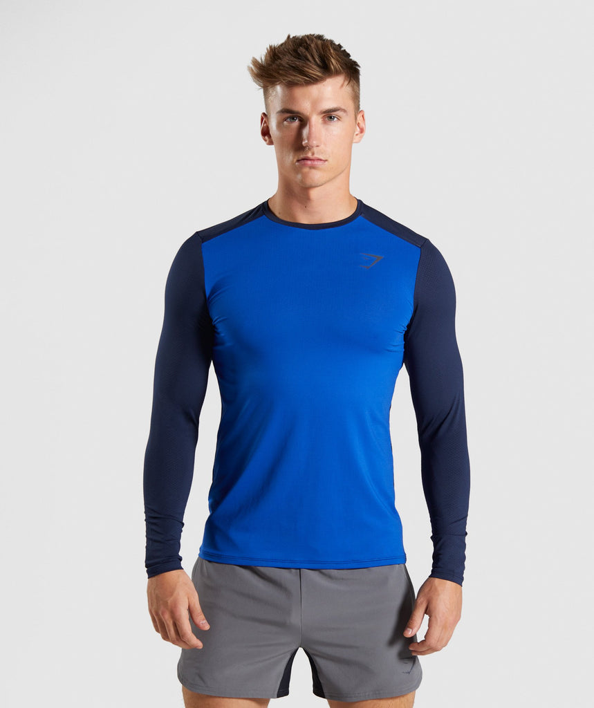 Gymshark Speed Long Sleeve T-Shirt - Blue 1