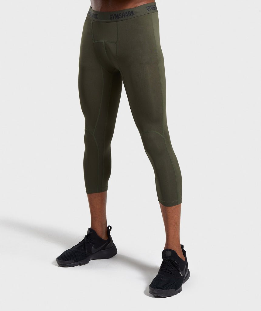 Gymshark Shadow 3/4 Leggings - Dark Green 1