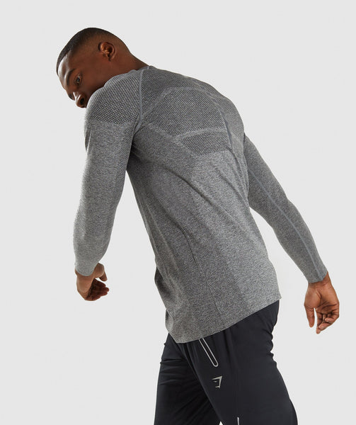 Gymshark Shadow X Seamless Long Sleeve T-Shirt - Charcoal Marl 2