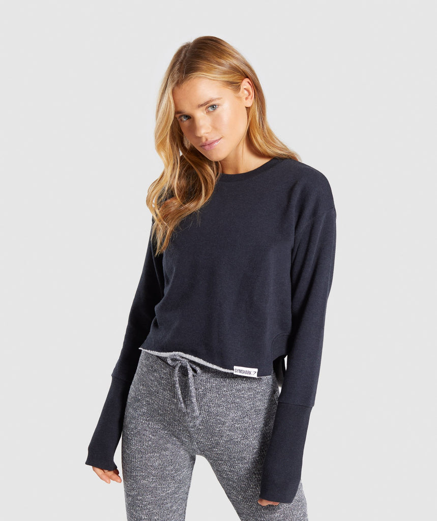 Gymshark Slounge Crescent Sweater - Black Marl 1