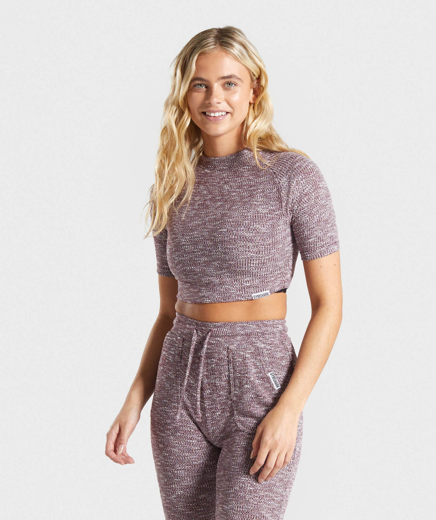 Gymshark Slounge Crop Top - Berry Red Marl 1