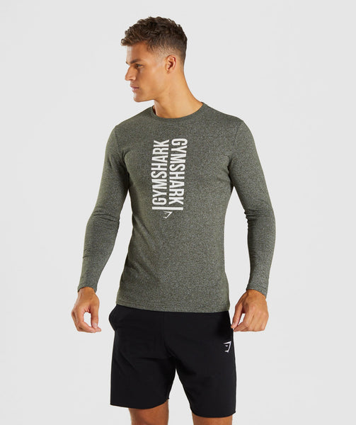Gymshark Statement Long Sleeve T-Shirt - Woodland Green Marl 4