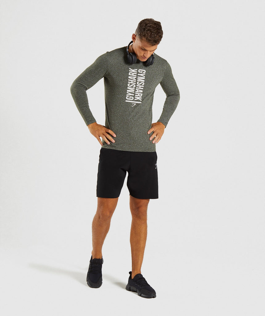 Gymshark Statement Long Sleeve T-Shirt - Woodland Green Marl 5