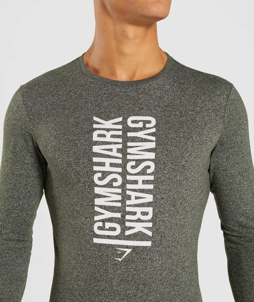 Gymshark Statement Long Sleeve T-Shirt - Woodland Green Marl 6