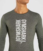 Gymshark Statement Long Sleeve T-Shirt - Woodland Green Marl 12