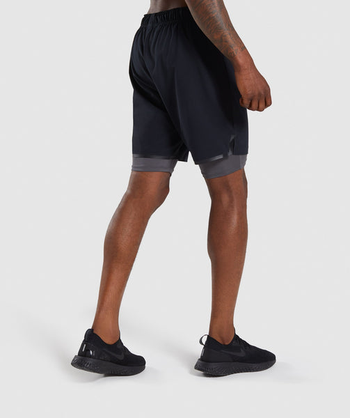 Gymshark Superior 2 In 1 Training Shorts - Black/Charcoal 1