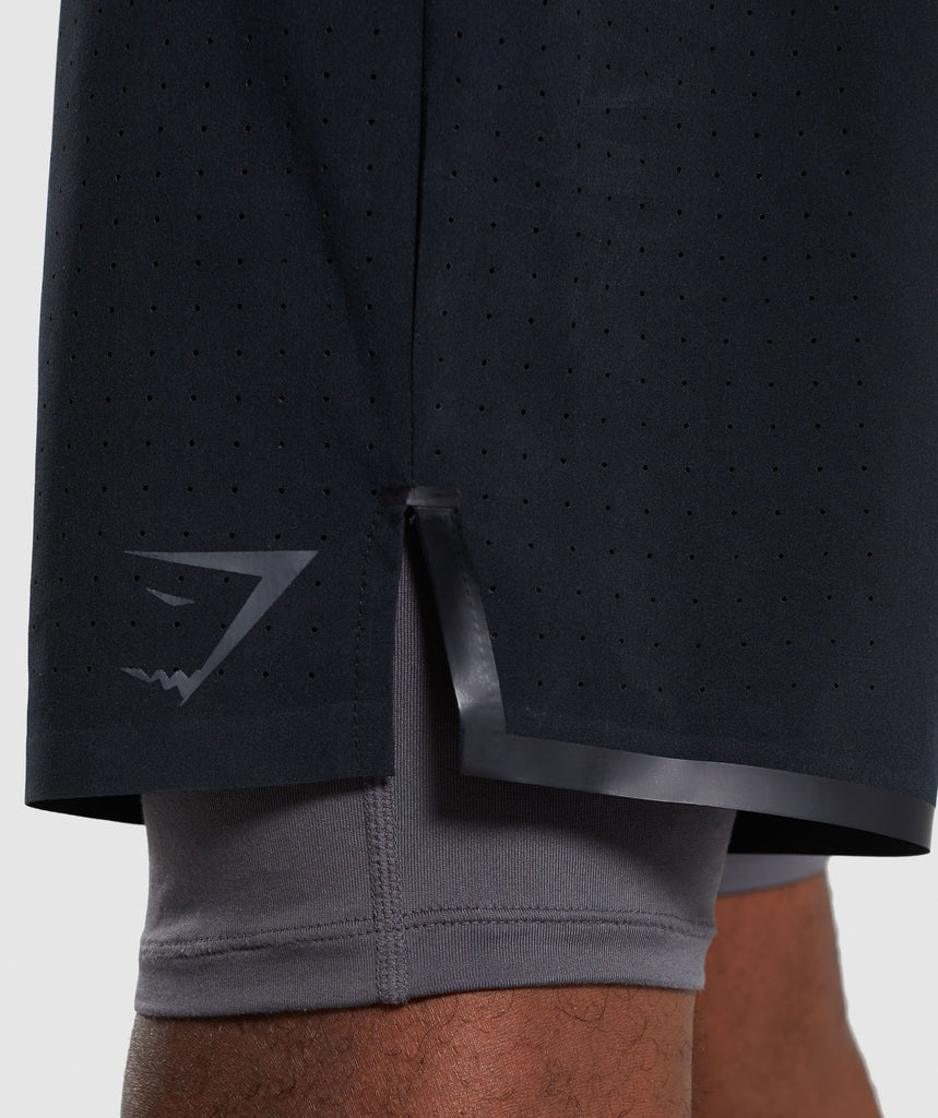 Gymshark Superior 2 In 1 Training Shorts - Black/Charcoal 6