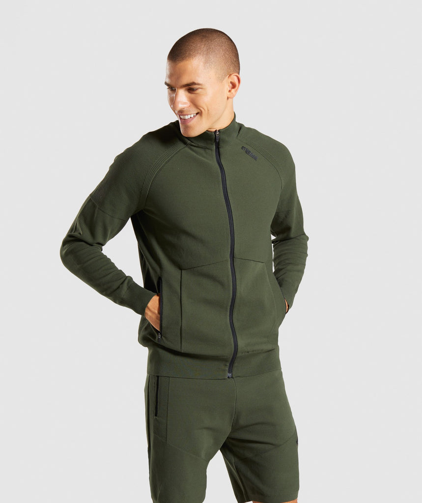 Gymshark True Knit Zip Up - Green 1