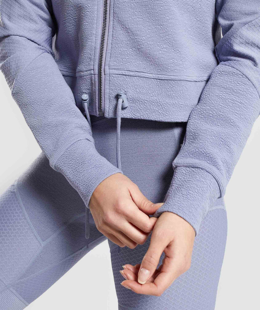 Gymshark True Texture Hooded Bomber Jacket - Steel Blue 5