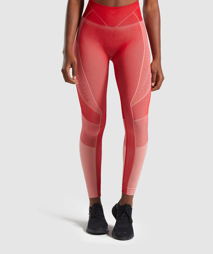 Gymshark Turbo Seamless Leggings - Brick Red 1