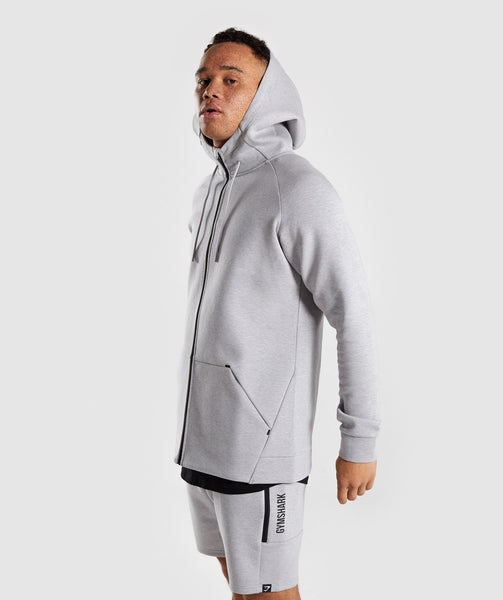 Gymshark Ultra Zip Hoodie - Light Grey Marl 2