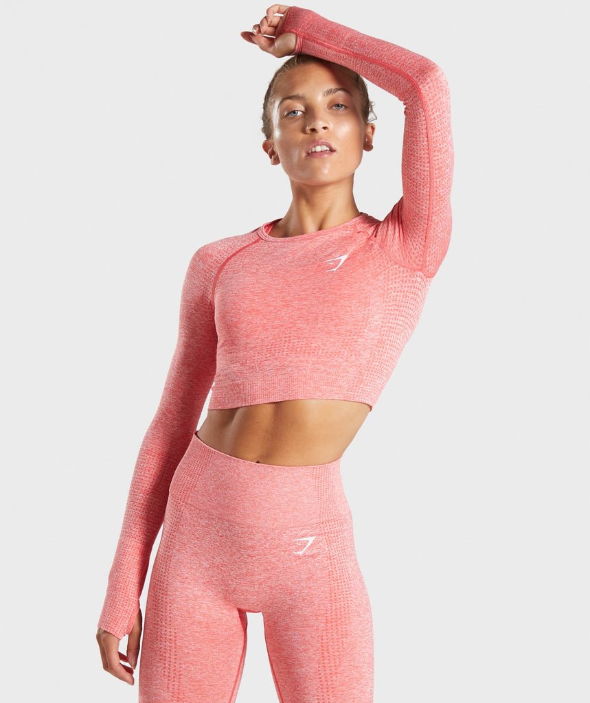 Gymshark Vital Seamless Long Sleeve Crop Top - Coral Marl 1