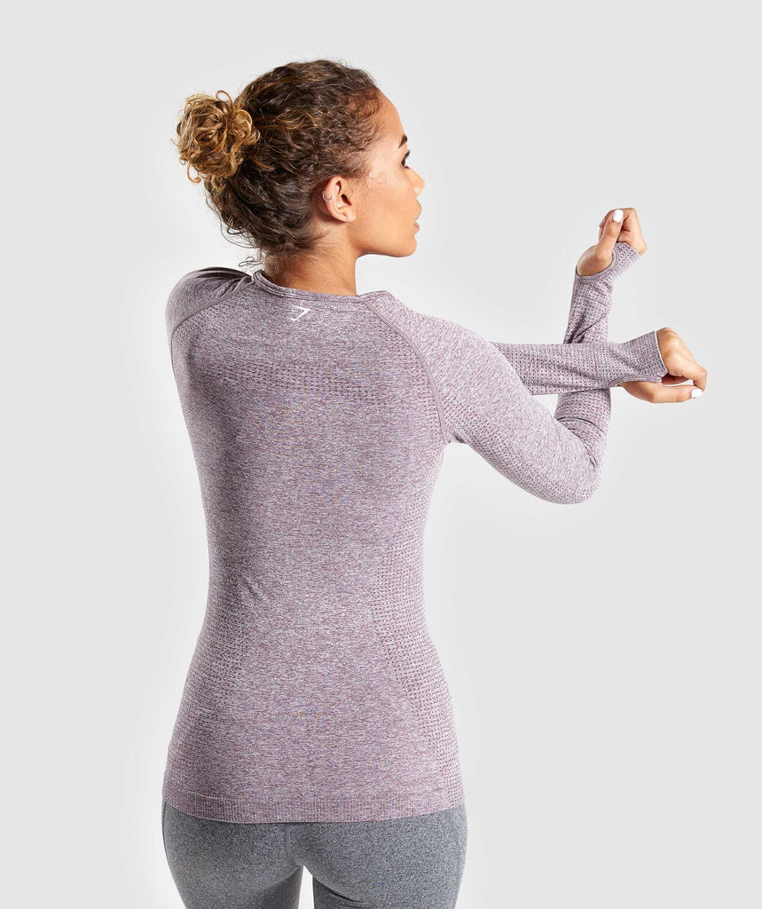 Gymshark Seamless Long Sleeve Top - Purple Wash Marl 2