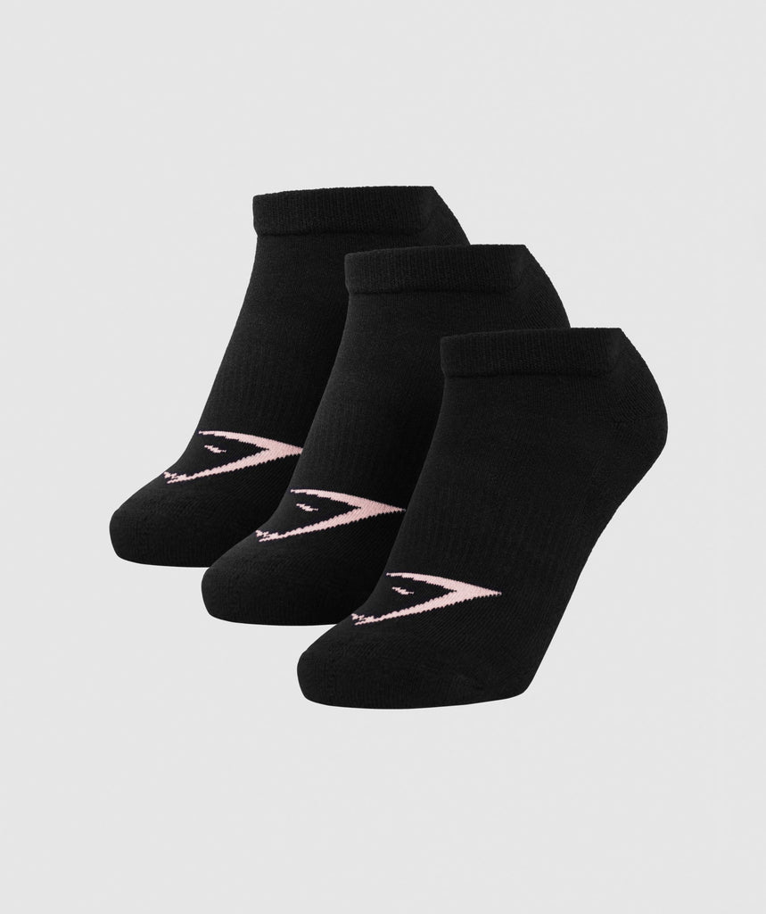 Gymshark Womens Ladies Trainer Socks (3pk) - Black 1