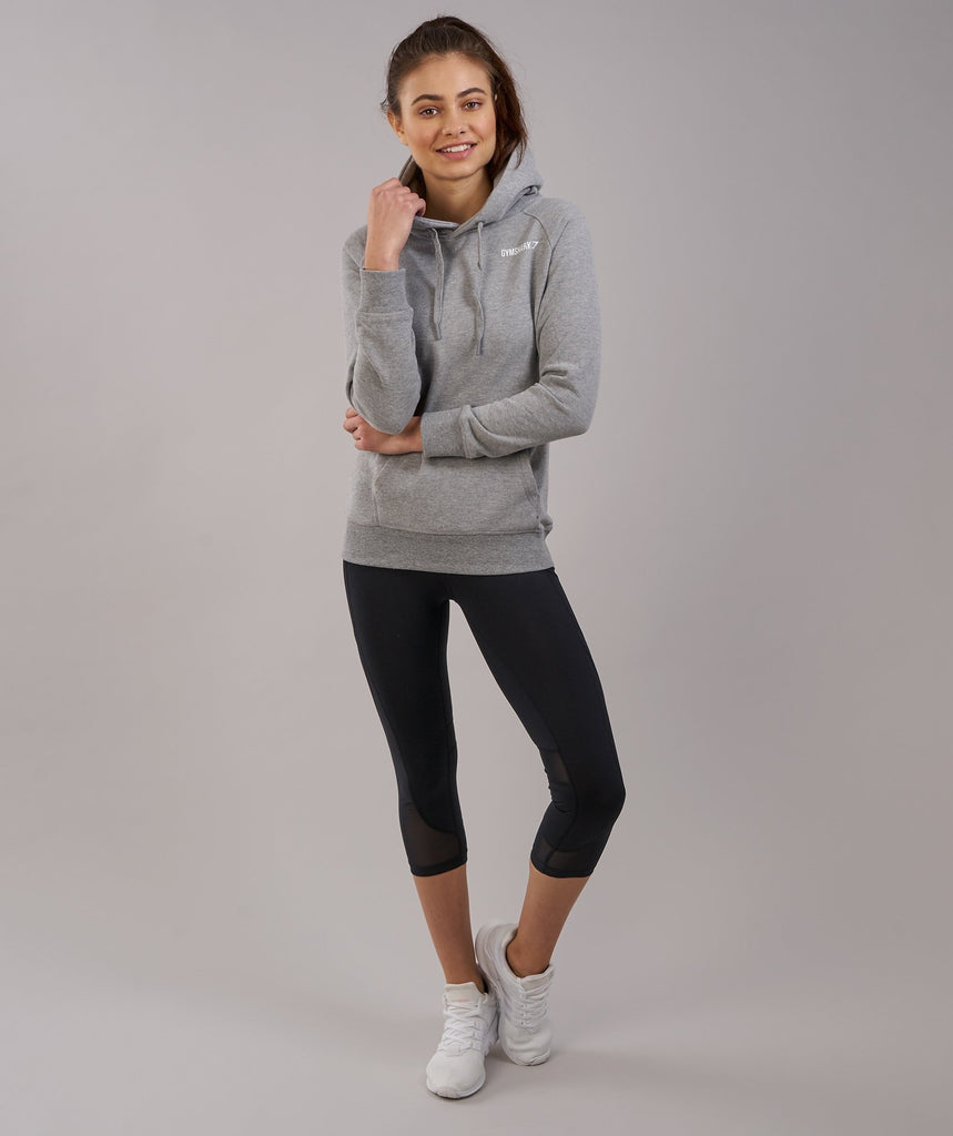Gymshark Women's Crest Hoodie - Light Grey Marl 1