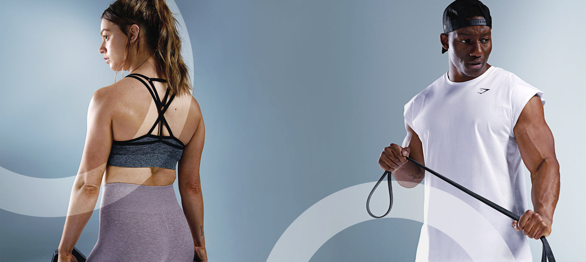Female athlete wearing the new Adapt Collection and Lubomba wearing the new Critical Collection while posing and working out.