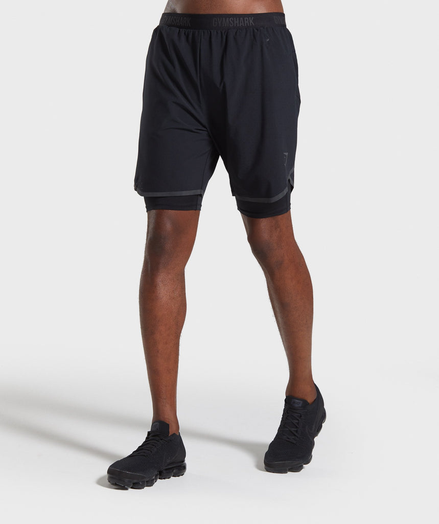 Gymshark 2 In 1 Tech Shorts - Black 1