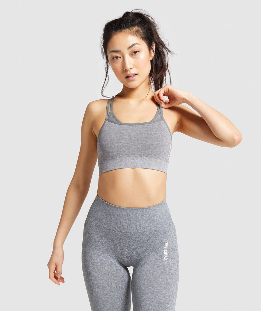 Gymshark Adapt Marl Seamless Sports Bra - Grey 1