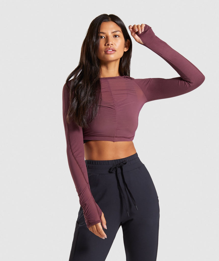 Gymshark Aura Crop Top - Berry Red 1