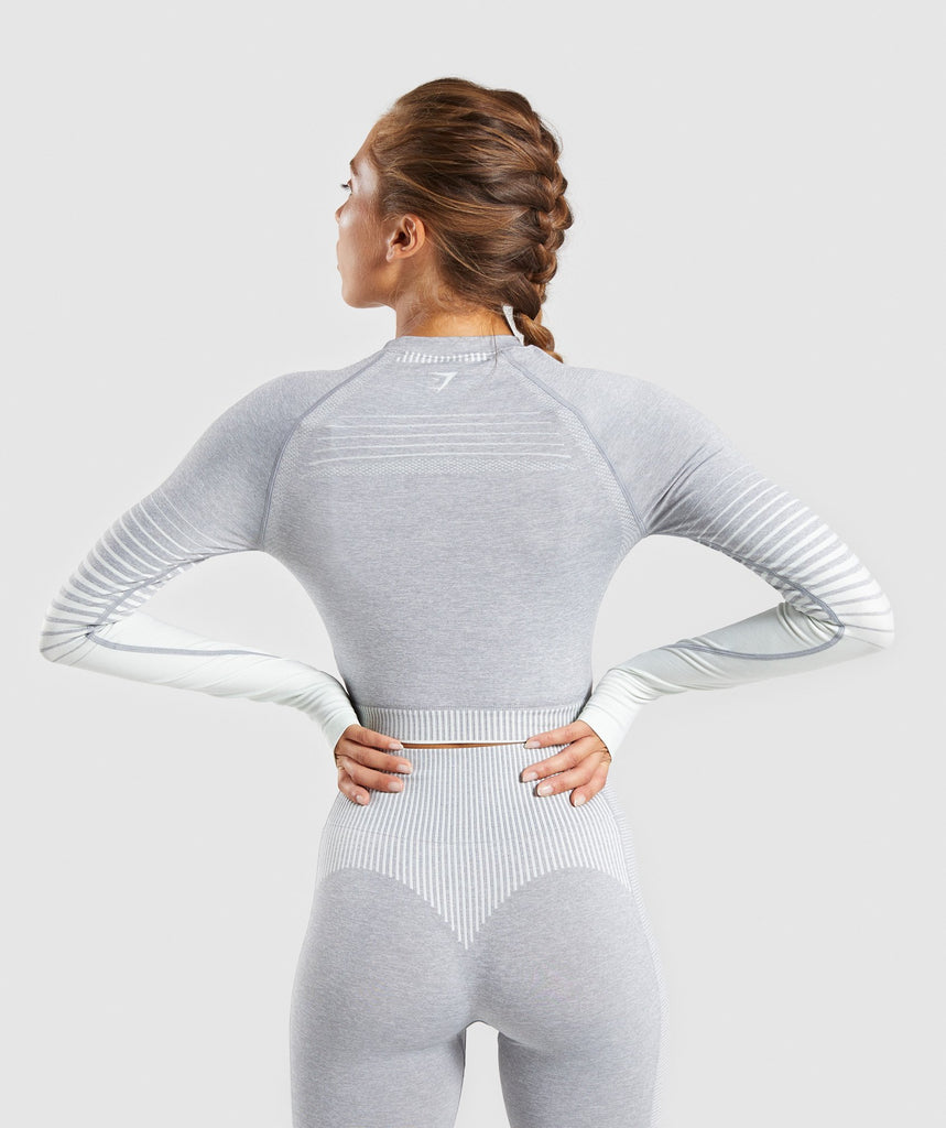 Gymshark Amplify Seamless Long Sleeve Crop Top  - Light Grey Marl/Sea Green 2