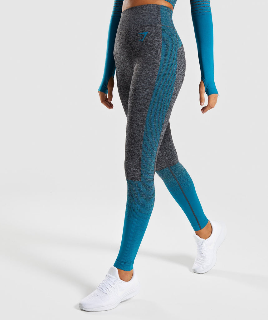Gymshark Amplify Seamless Leggings - Black Marl/Deep Teal 1