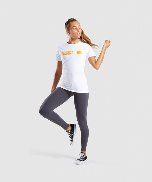 Gymshark Apollo T-Shirt 2.0 - White/Citrus Yellow 3