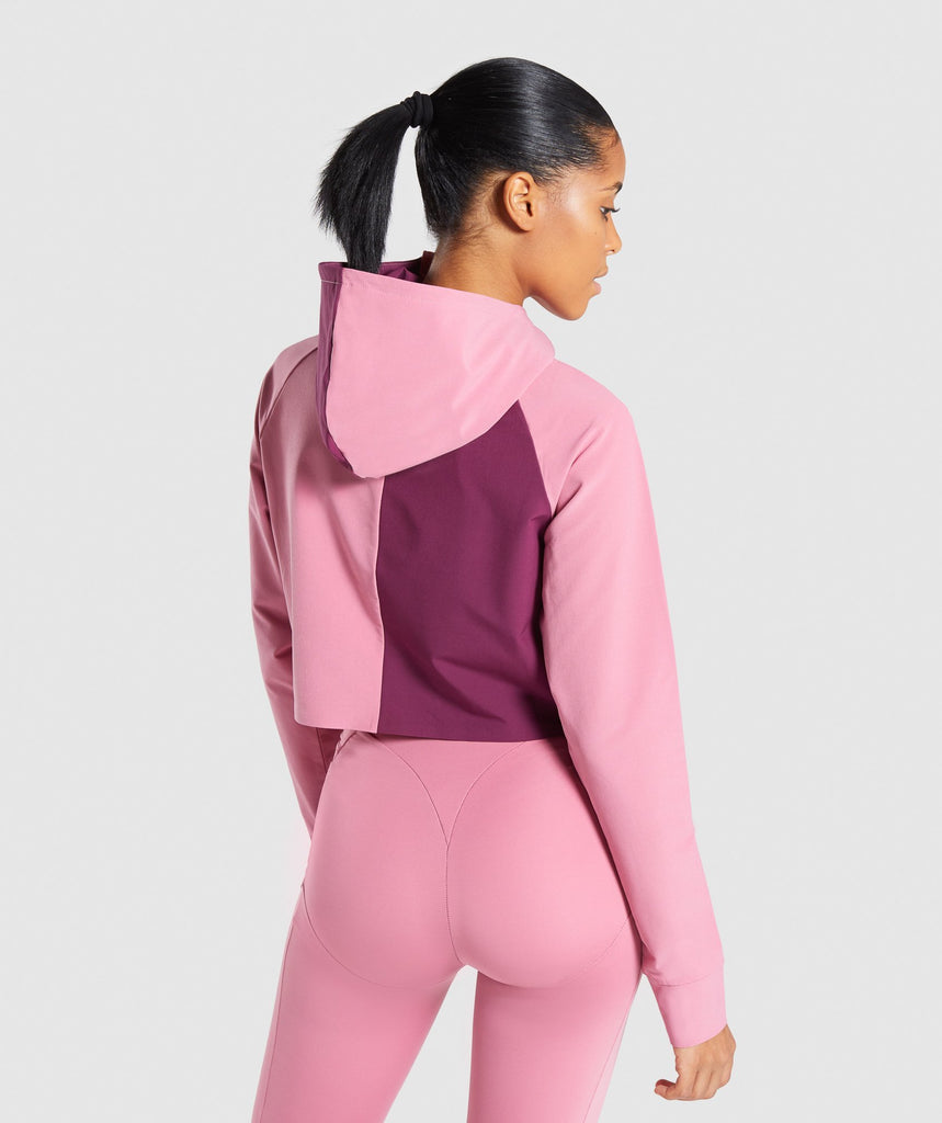 Gymshark Asymmetric Performance Hoodie - Dusky Pink/Dark Ruby 2