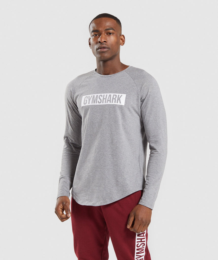 Gymshark Block Long Sleeve T-Shirt - Grey Marl/White 1