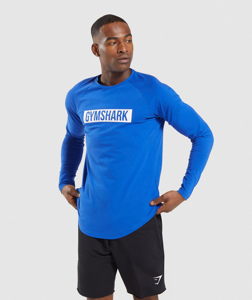Gymshark Block Long Sleeve T-Shirt - Blue/White 1