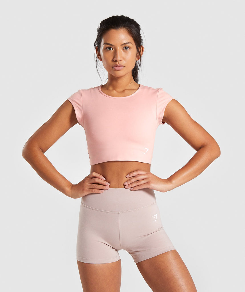 Gymshark Dreamy Cap Sleeve Crop Top - Peach 1