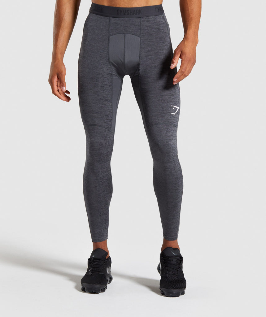 Gymshark Element+ Baselayer Leggings - Black Marl/White 1