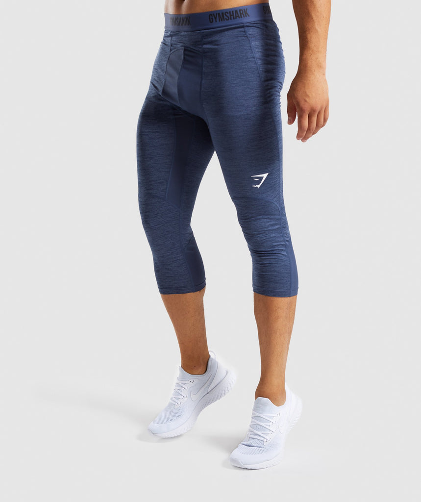 Gymshark Element+ Baselayer 3/4 Leggings - Sapphire Blue Marl 1