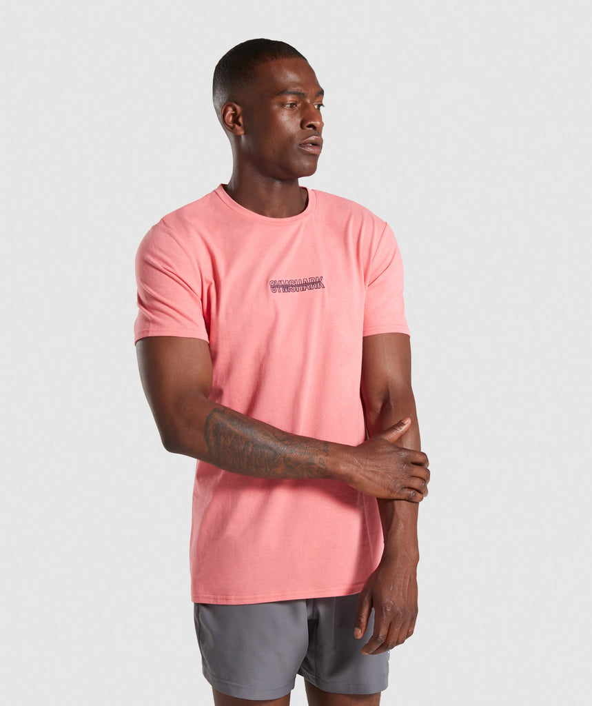 Gymshark Embroidered Logo T-Shirt - Pink 1