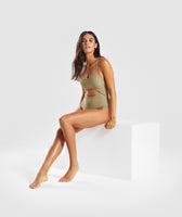 Gymshark Cut Out Swimsuit - Washed Khaki 10