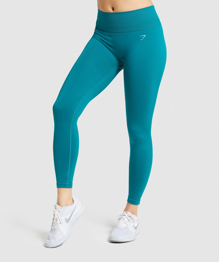 Gymshark Fit Mid Rise Leggings - Emerald/Aqua Green 1