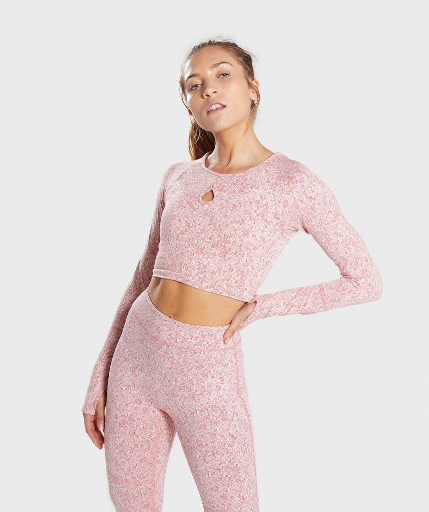Gymshark Fleur Texture Long Sleeve Crop Top - Brick Red 1