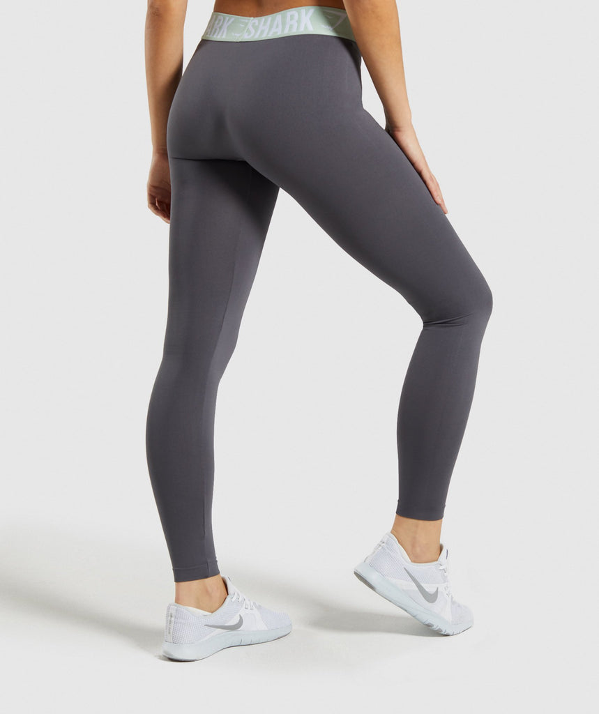 Gymshark Fit Leggings - Grey/Light Green 2