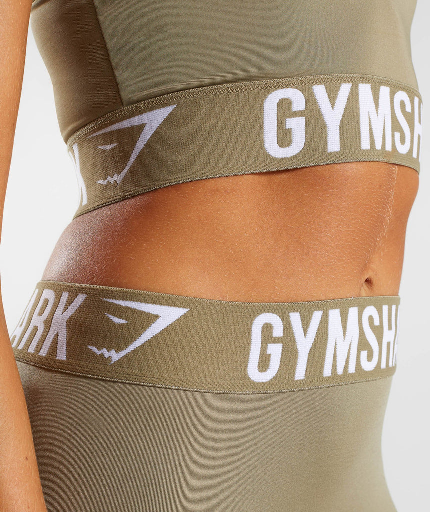 Gymshark Fit Cropped Leggings - Washed Khaki/White 5