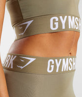 Gymshark Fit Cropped Leggings - Washed Khaki/White 11