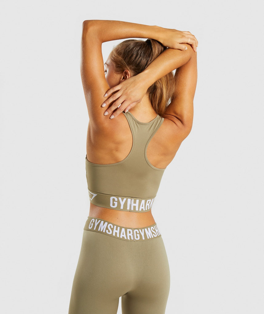 Gymshark Fit Sports Bra - Washed Khaki/White 2