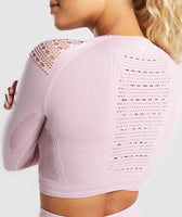 Gymshark Flawless Knit Long Sleeve Crop Top - Washed Lavender 12