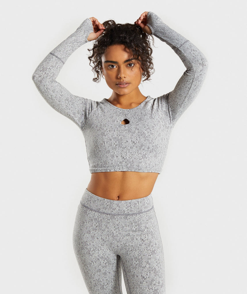 Gymshark Fleur Texture Long Sleeve Crop - Charcoal Marl 1