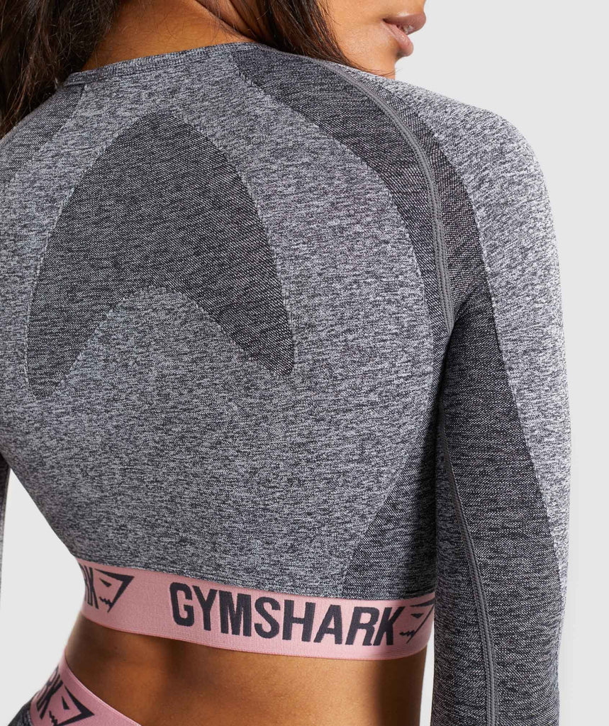 Gymshark Flex Long Sleeve Crop Top - Charcoal Marl/Peach Pink 6
