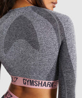 Gymshark Flex Long Sleeve Crop Top - Charcoal Marl/Peach Pink 12