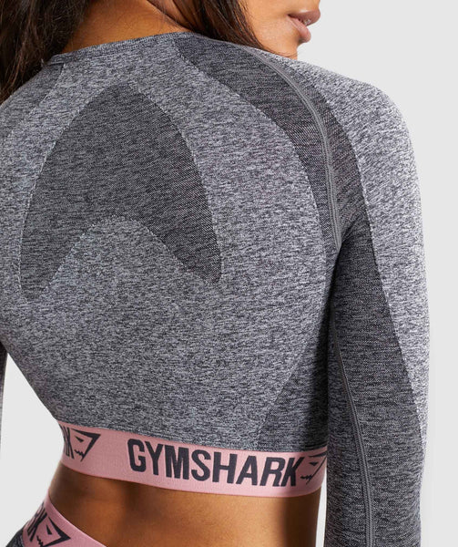 Gymshark Flex Long Sleeve Crop Top - Charcoal Marl/Peach Pink 4
