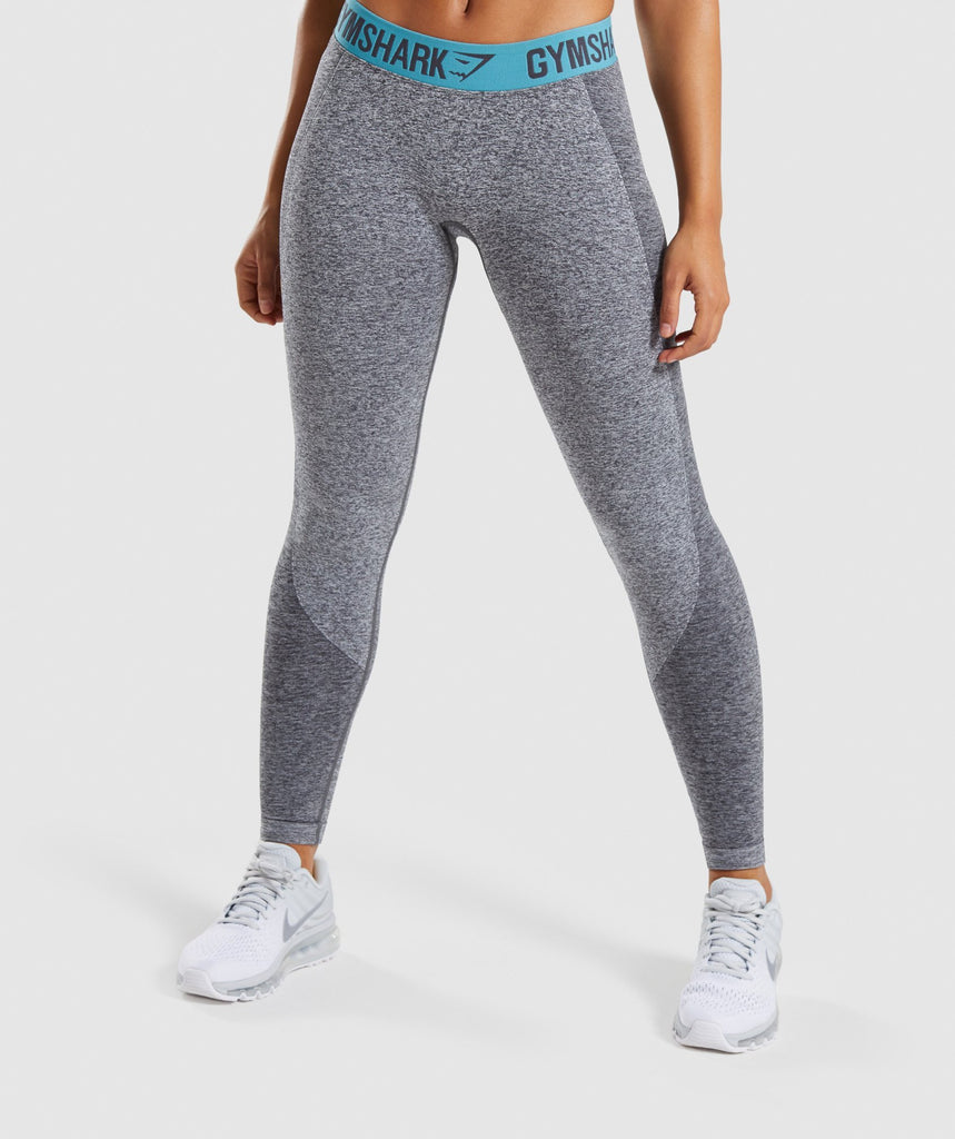 Gymshark Flex Leggings - Charcoal Marl/Dusky Teal 1