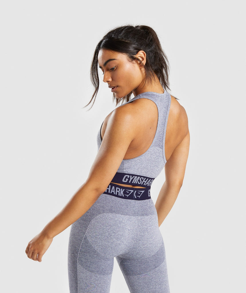 Gymshark Flex Sports Bra - Steel Blue Marl/Evening Navy Blue 2