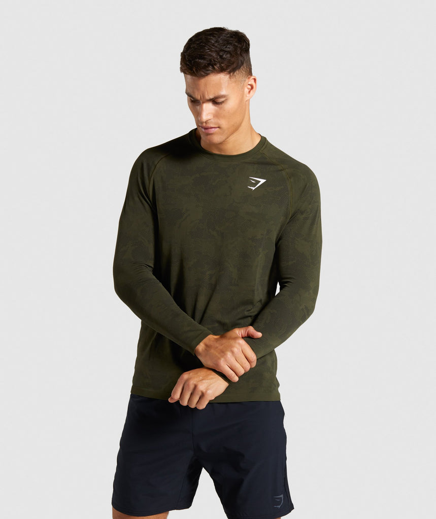 Gymshark Geo Lightweight Seamless Long Sleeve T-Shirt - Dark Green 1